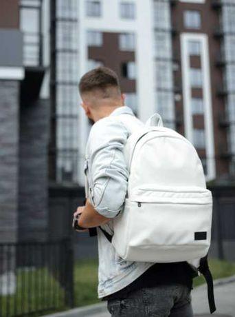 Отличный мужской рюкзак белый, эко-кожа, повседневный, школьный