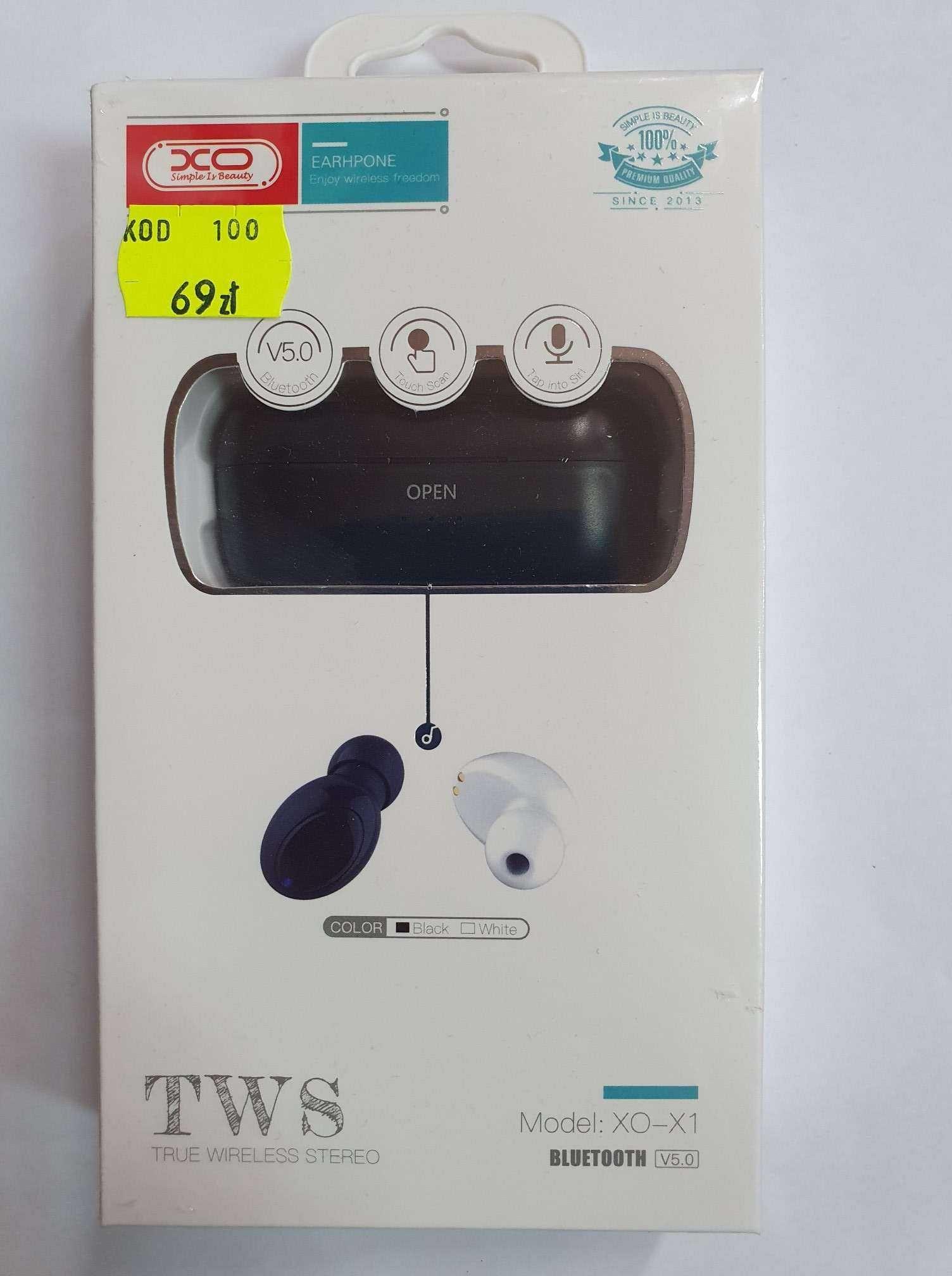 NOWE słuchawki bezprzewodowe bluetooth powerbank czarne uniwersalne