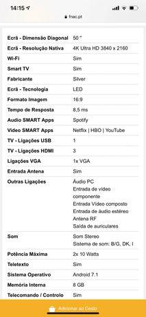 "Smart TV Android Silver 50"" 4K Ultra HD LED 127cm - Preto"