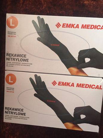 Rękawiczki nitrylowe czarne 100 sztuk,rozmair L