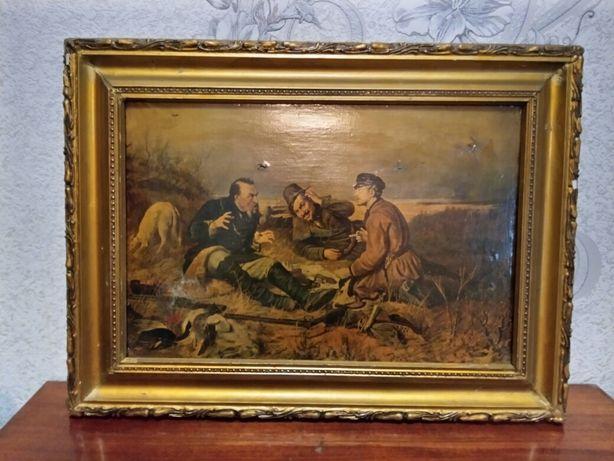 Репродукция картины Охотники на привале (Перов, СССР)