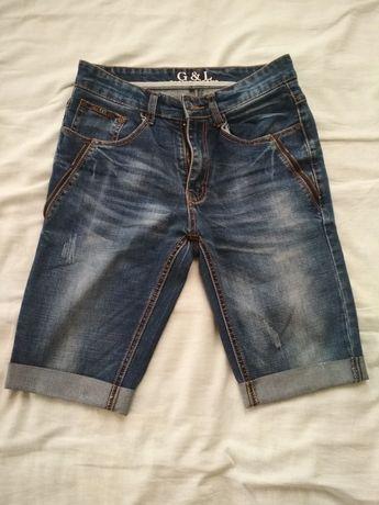 Бриджи джинсовые мужские с подворотом шорты