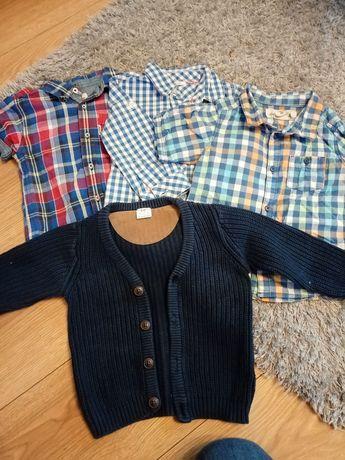 Koszule + sweterek dla chłopca rozmiar 80
