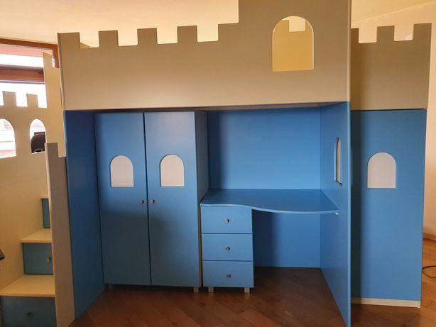 Łóżko piętrowe, antersola zamek ze zjeżdżalnią Baby Best