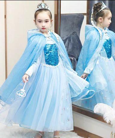 Платье костюм Эльза,Снежинка новогодний 6-7 лет