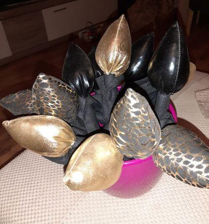 tulipany z materiału błyszczcego 12 sztuk