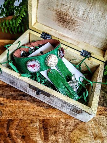 Biżuteria skórzana kolczyki bransoleta szkatułka.