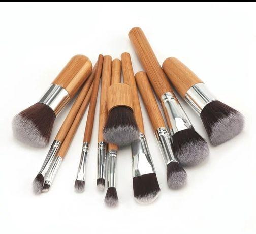 Кисти для макияжа, набор 11 штук, make up, бамбук, пензлики,