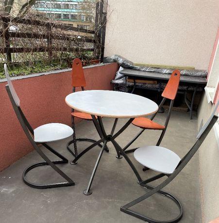 stół, stolik okrągły, 4 krzesła, zestaw do kuchni, jadalni