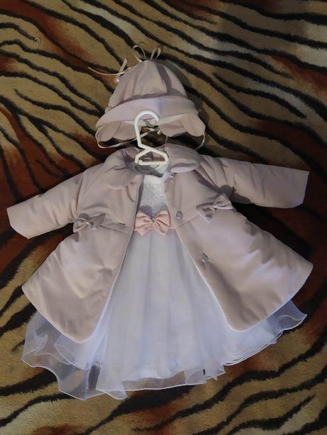 Sukieneczka na chrzest r. 62 +płaszczyk +kapelusik