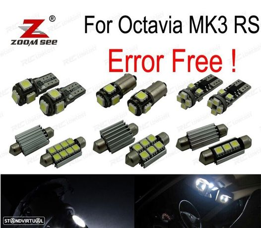 KIT COMPLETO DE 12 LÂMPADAS LED INTERIOR PARA SKODA OCTAVIA 3 MK3 SALOON MK III 5E3 SEDÁN RS TDI T