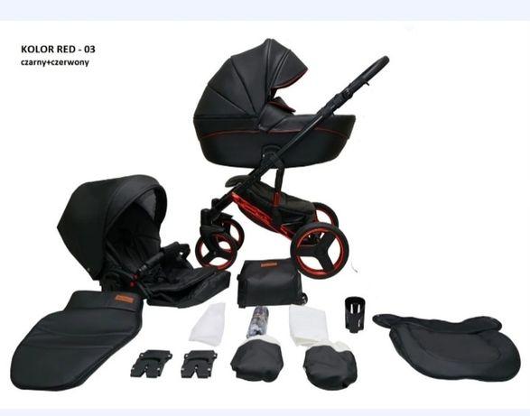Детская универсальная коляска 2 в 1 Mikrus Onyx 03 (черная кожа красна