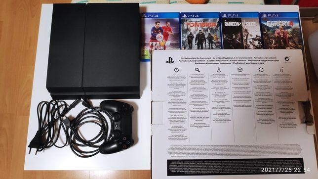 Playstation 4 fat 500gb komplet + 4 gry