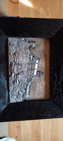 Stary Obraz zamek z metalu, antyk, zabytek