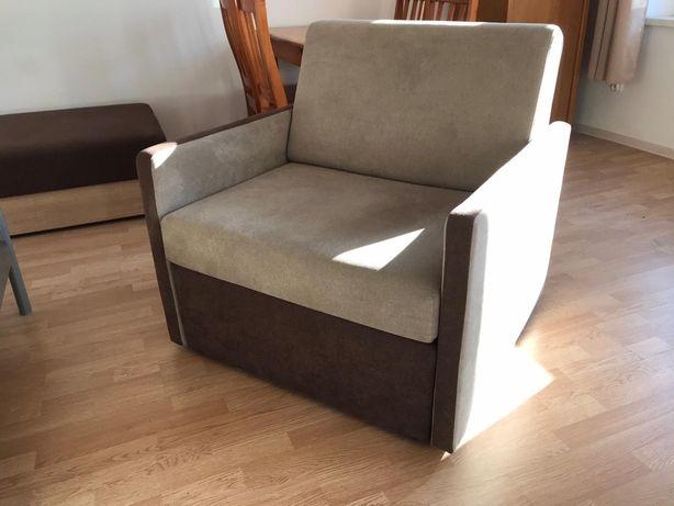 Sofa jednoosobowa fotel rozkładany dostawka