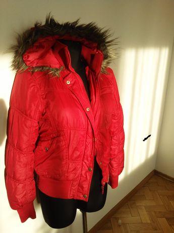 kurtka zimowa z kapturem z futerkiem 158-176cm