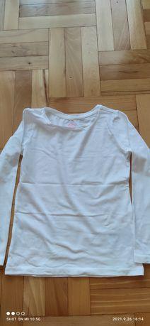 Nowa Biała bluzka z długim rękawem, rozmiar 122