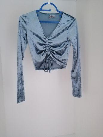 Welurowa bluzka ze ściągaczem