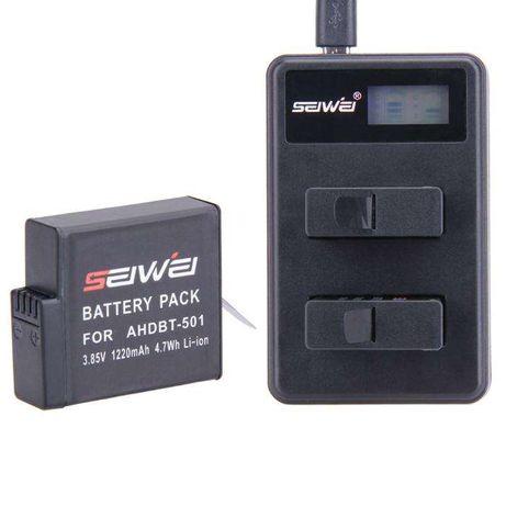 Carregador Duplo + Bateria Gopro Hero 5 Black - Novo - Portes Gratis