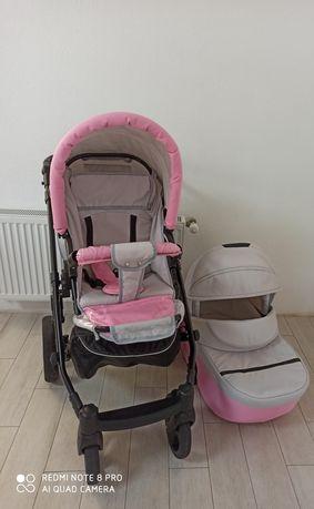 Дитяча коляска Mikrus Genua 10 2 в 1 сіро-рожева