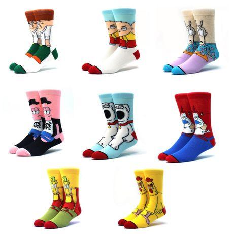 Прикольные высокие носки с мультяшным принтом Патрик, Гриффины