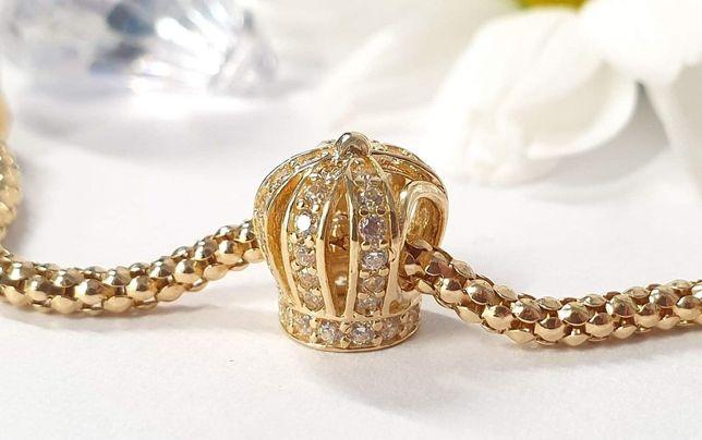 Złoty koralik do bransoletki modułowej charms, złoto 585