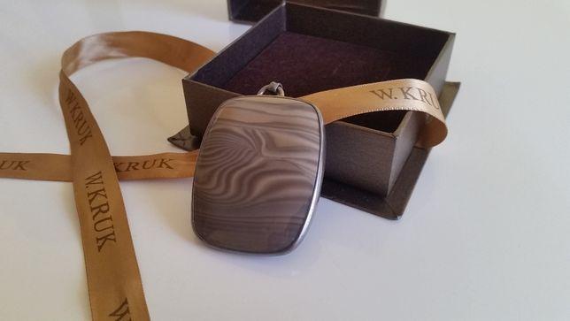 Kruk kamień kwarc + srebro zestaw oryginalne pudełko