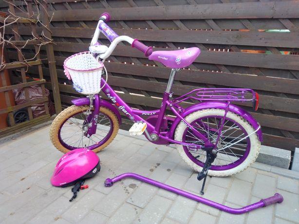 """Rower dla dziewczynki 16"""" pchacz- uchwyt do nauki kask koszyczek"""