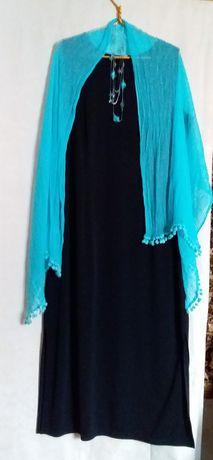 Вечернее чёрное платье батал