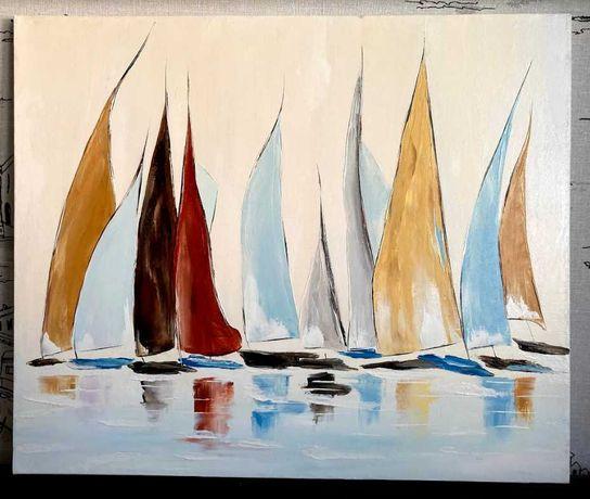 Картина маслом Лодки абстракция, холст на подрамнике 50х60 см
