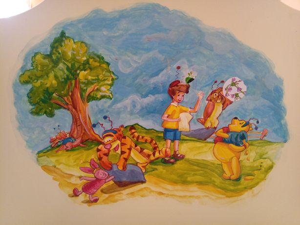 Komplet mebli Kubuś Puchatek ręcznie malowany
