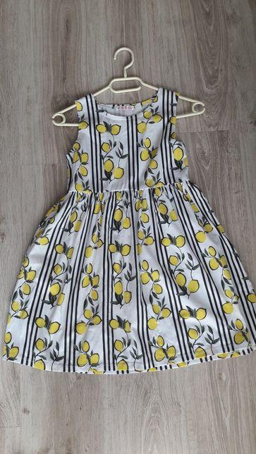 Sukienka w cytryny piękna suknia rozmiar 152 na 11-12lat