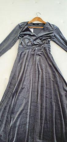 Szara srebrna sukienka midi