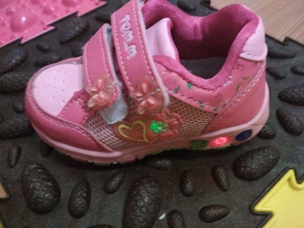 Кросовки с мигалками для девочки, кросовки детские