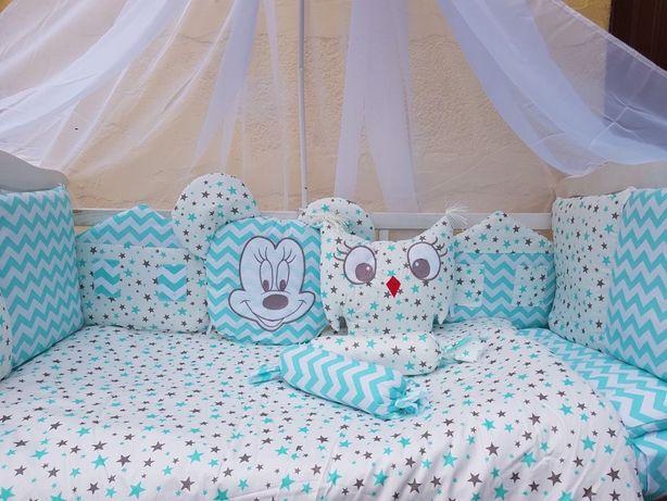 Полный комплект бортики в кроватку,постельное белье для малыша,звери