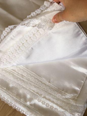 Biały bieżnik ślub wesele dekoracja koronka
