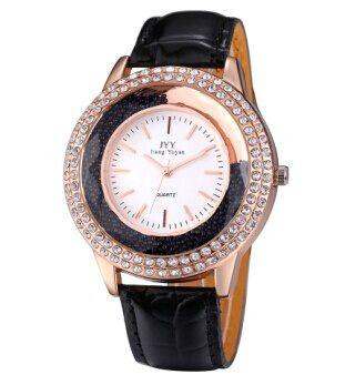 Zegarek damski na pasku czarny złoty z diamencikami kryształkami