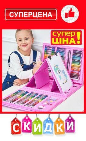 Детский набор с мольбертом, 208 предметов для рисования и творчества