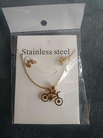 Naszyjnik kolczyki rower biżuteria z łańcuszkiem