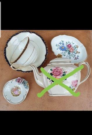 Lote de loiça Inglesa bule chávena de chá taças