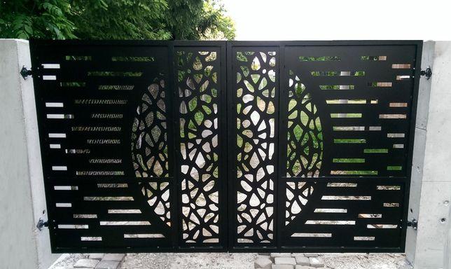 Ogrodzenie Aluminiowe | Brama wjazdowa dwuskrzydłowa aluminium | CNC