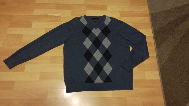 Klasyczny sweter w romby TOMMY HILFIGER stan idealny