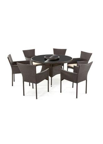 Stół okrągły + 4 lub 6 krzeseł technorattan brąz! Meble ogrodowe!