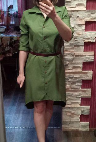 Платье-рубашка хаки. Новое