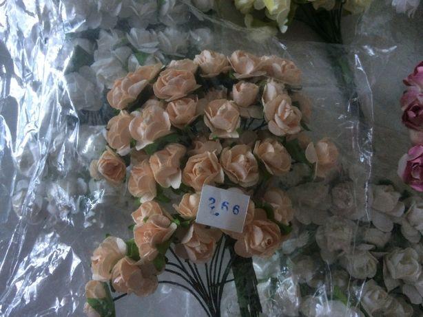 Цветы бумажные / Роза белая / Роза 1см /Роза 1,5см / Роза 2 см / Декор