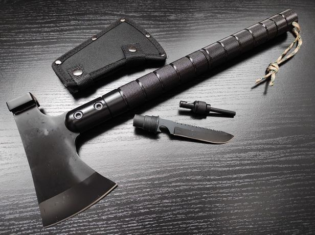 Тактический топор с ножом, стеклобоем и компасом