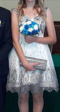 Biała, rozkloszowana sukienka, idealna na ślub cywilny roz. 34 /36