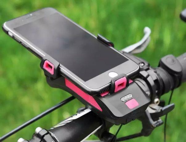 Фара с сигналом, креплением под телефон и повербанком 4000mA, велофара
