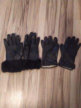 Перчатки женские черные кожаные