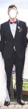 Elegancki czarny garnitur typu smoking - wzr.173 cm, koszula, lakierki